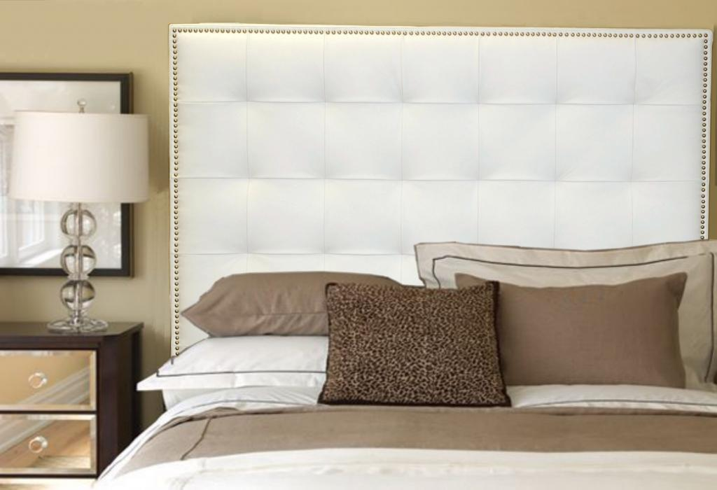 Queen White Genuine Leather Buttonless Tufted Headboard