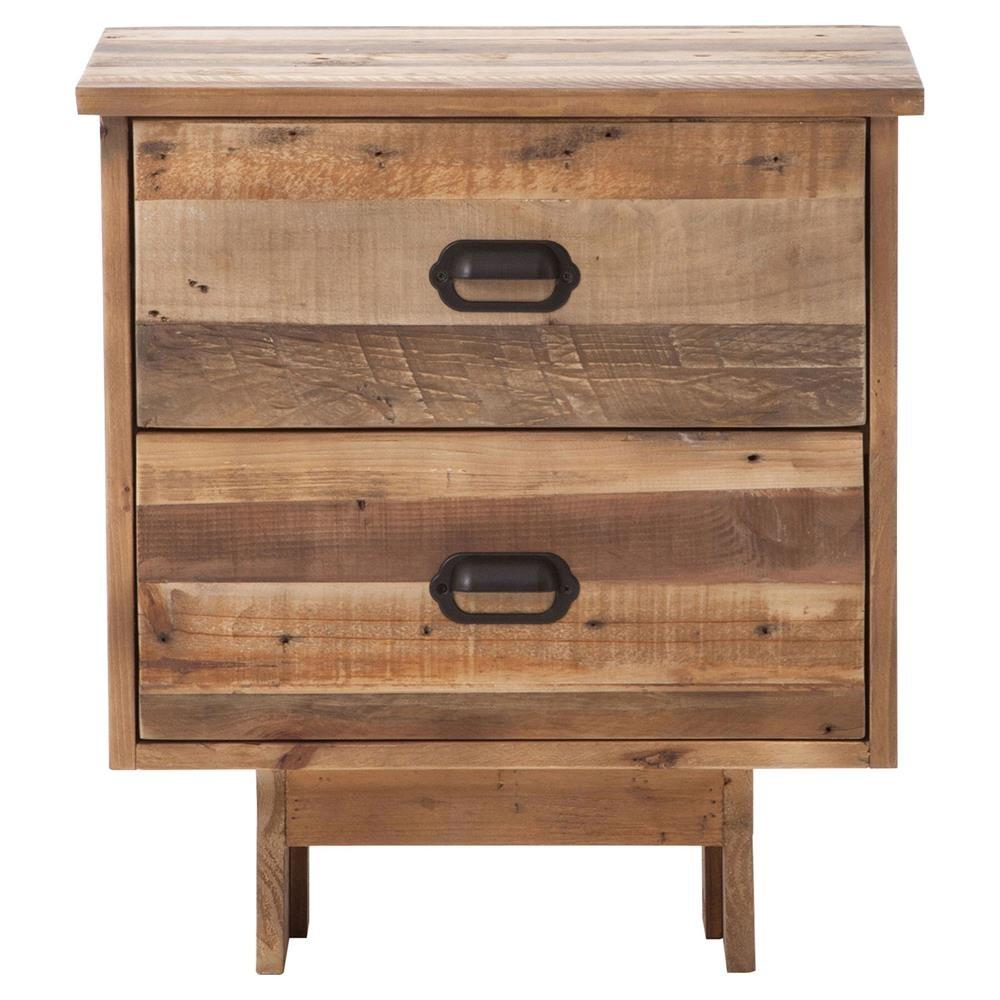Quentin Rustic Lodge Reclaimed Wood Two Drawer Nightstand