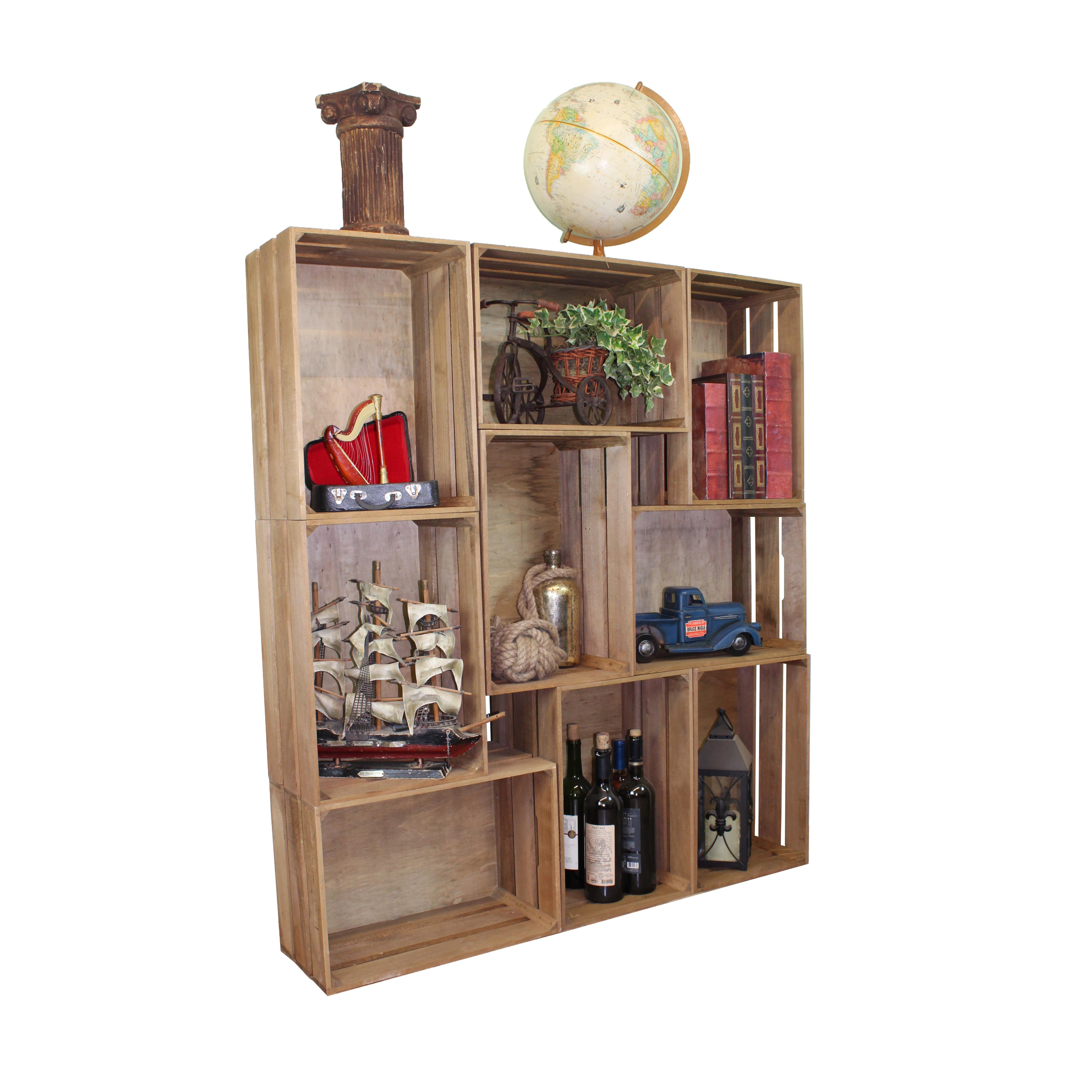 Quickway Imports Stackable Antique Style Wooden Crate