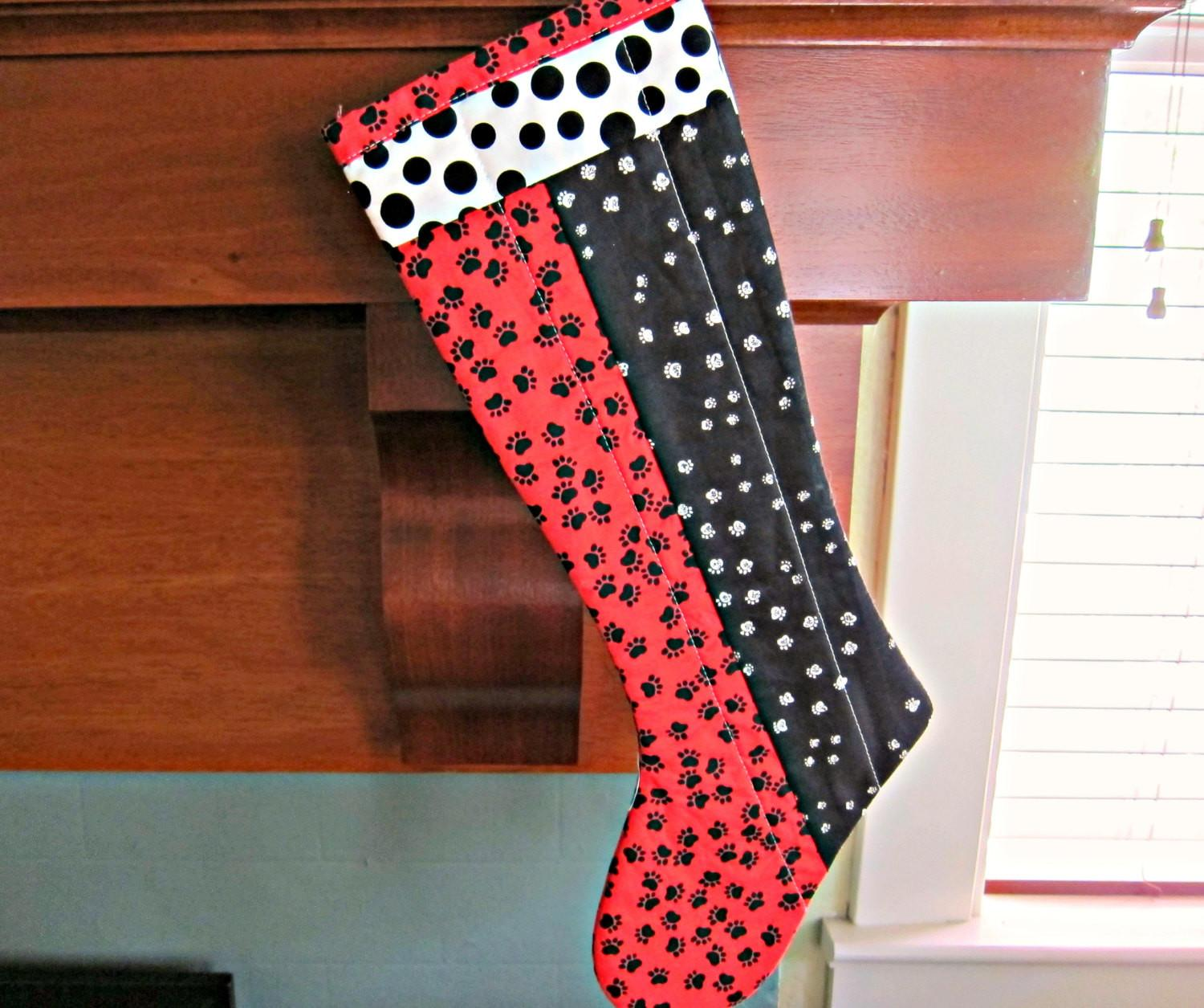 Quilted Christmas Stocking Patchwork Modern