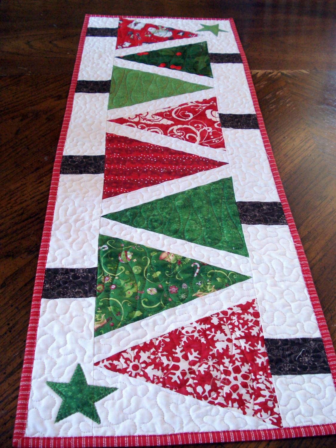 Quilted Table Runner Modern Christmas Trees Narrow Red