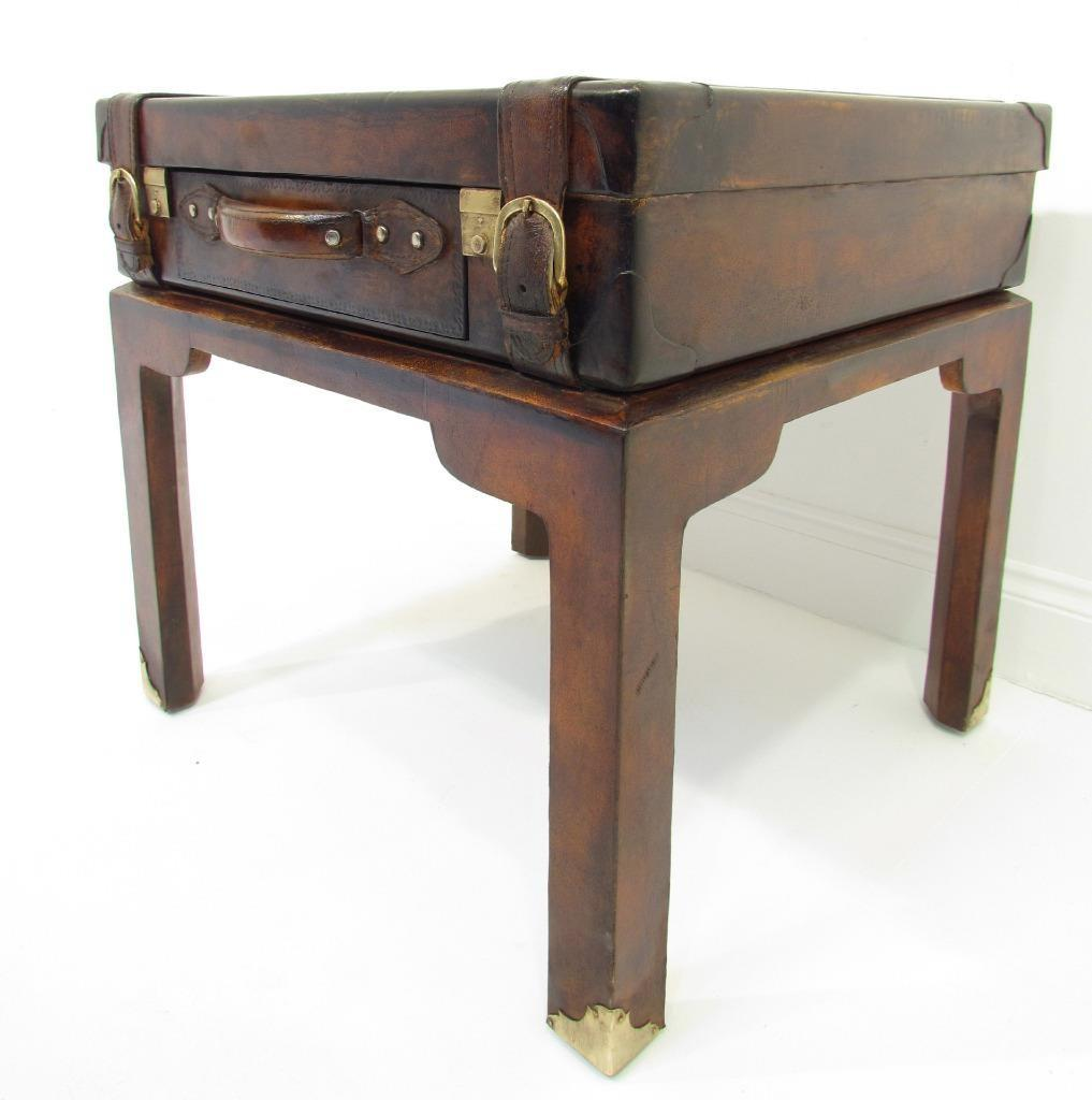 Quirky Antique Style Leather Suitcase Stand Bedside