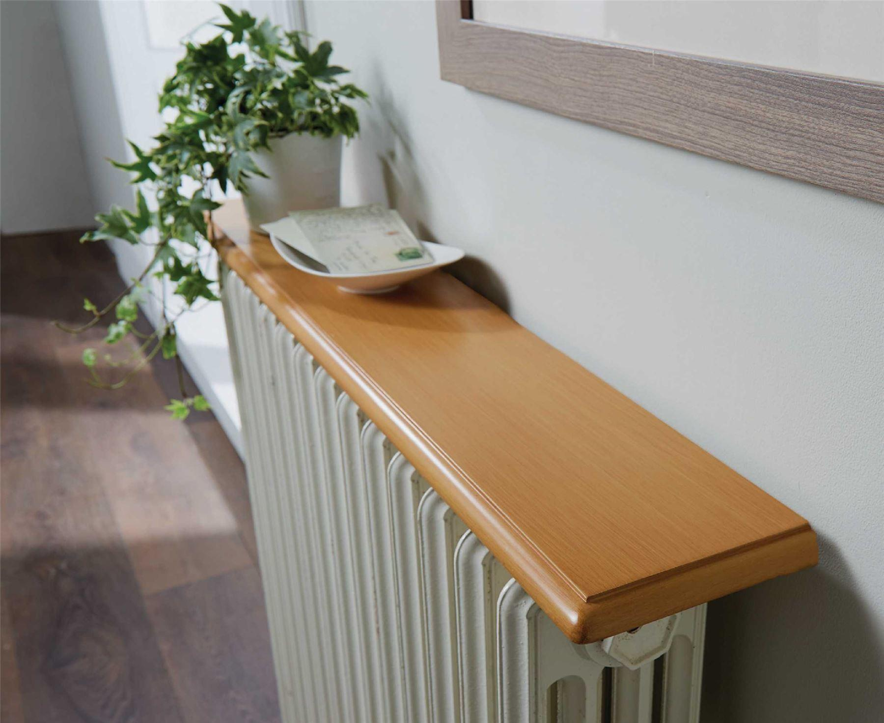 Radiator Shelf 90cm Solid Wood Metal Brackets Bevelled