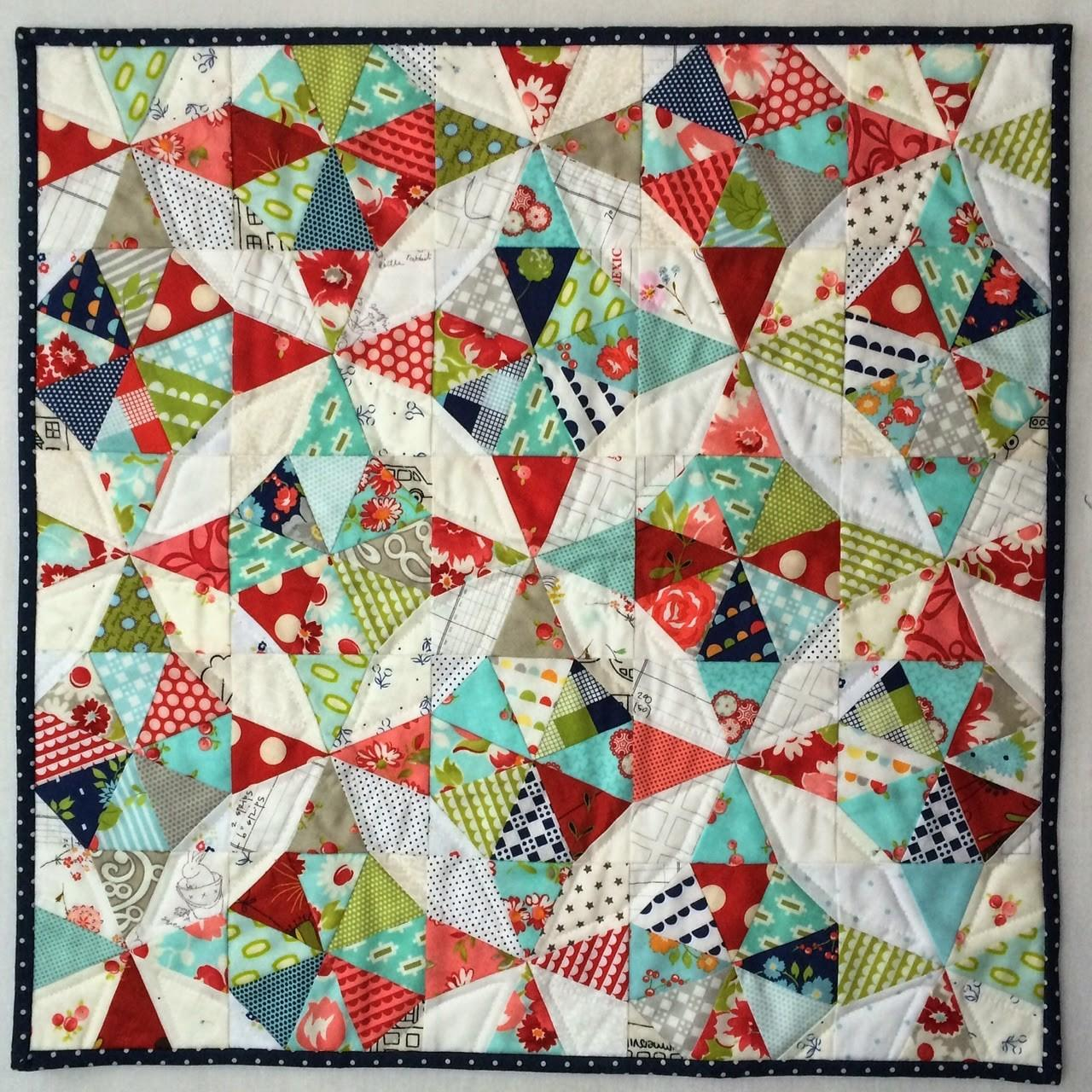 Rainboots Red Kaleidoscope Mini Quilt Pillow