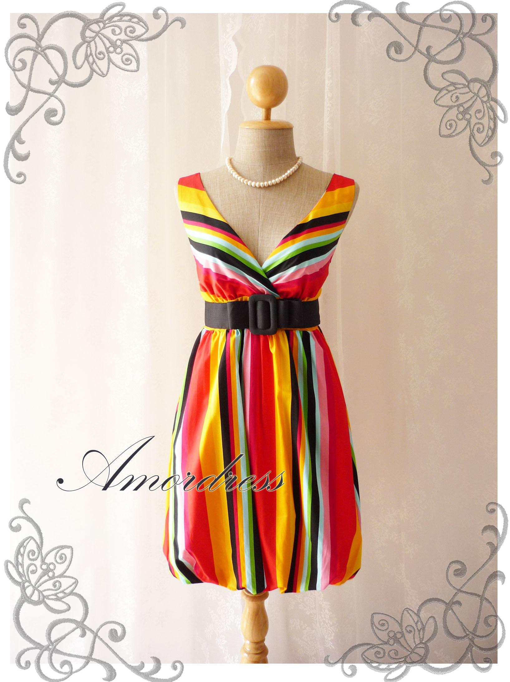 Rainbow Bright Colorful Summer Dress Stripe Party