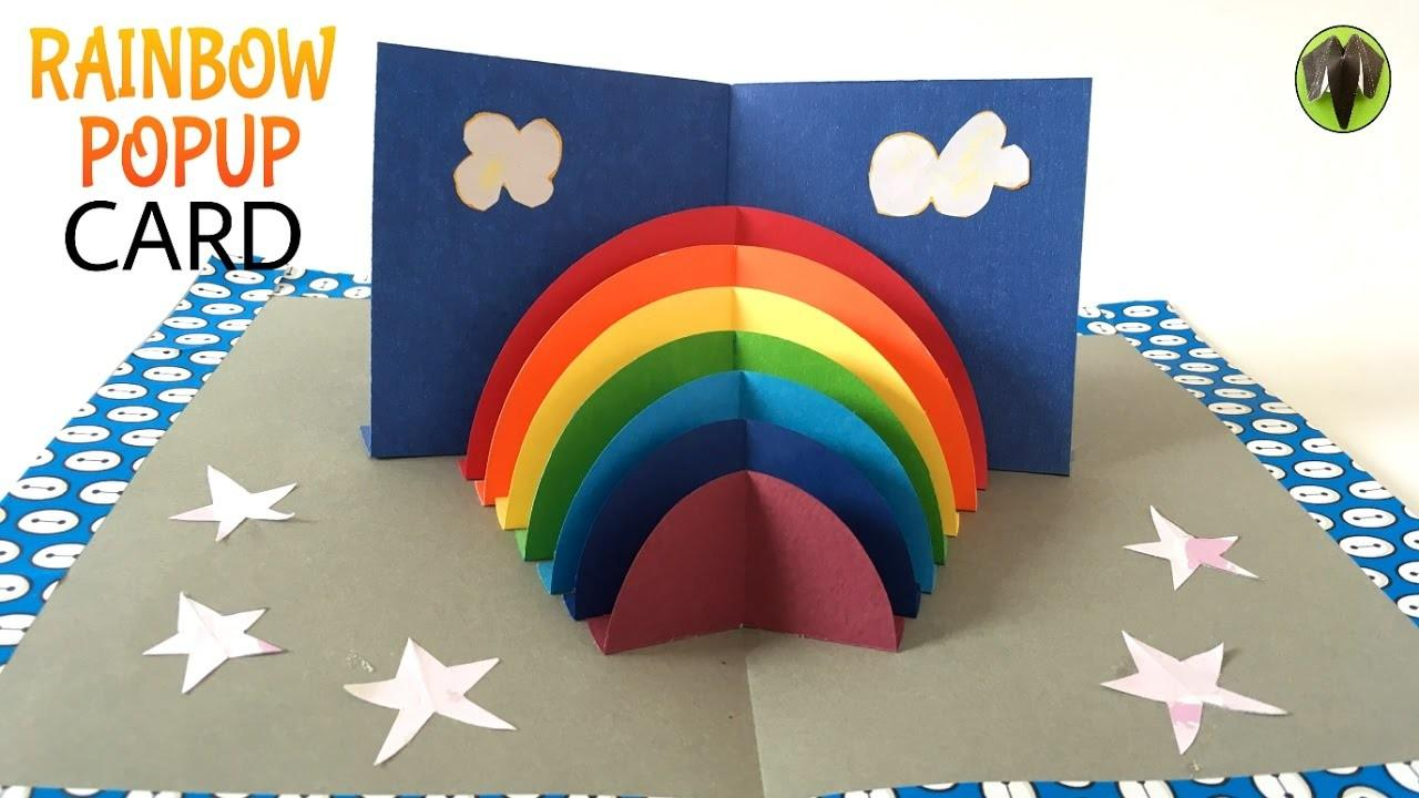 Rainbow Stand Popup Card Diy Tutorial Paper Folds