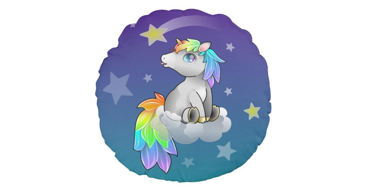 Rainbow Unicorn Baby Kid Cute Room Decor Round Pillow