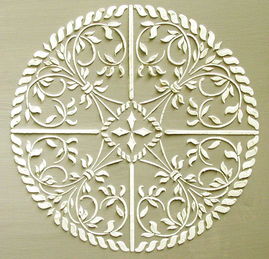 Raised Plaster Astana Medallion Stencil Wall