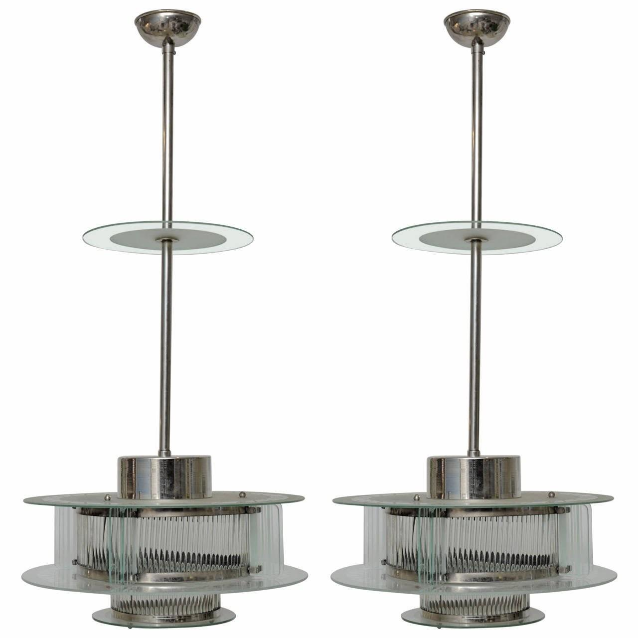 Rare Pair Art Deco Light Fixtures Iconic Metro