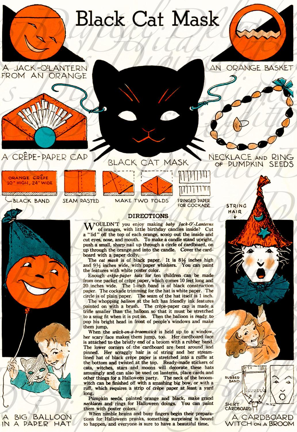 Rare Vintage Make Halloween Crafts Black Cat Digital
