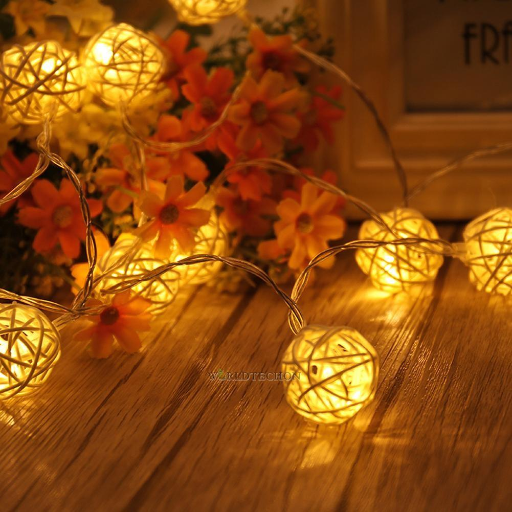 Rattan Ball Led String Fairy Lights Warm White