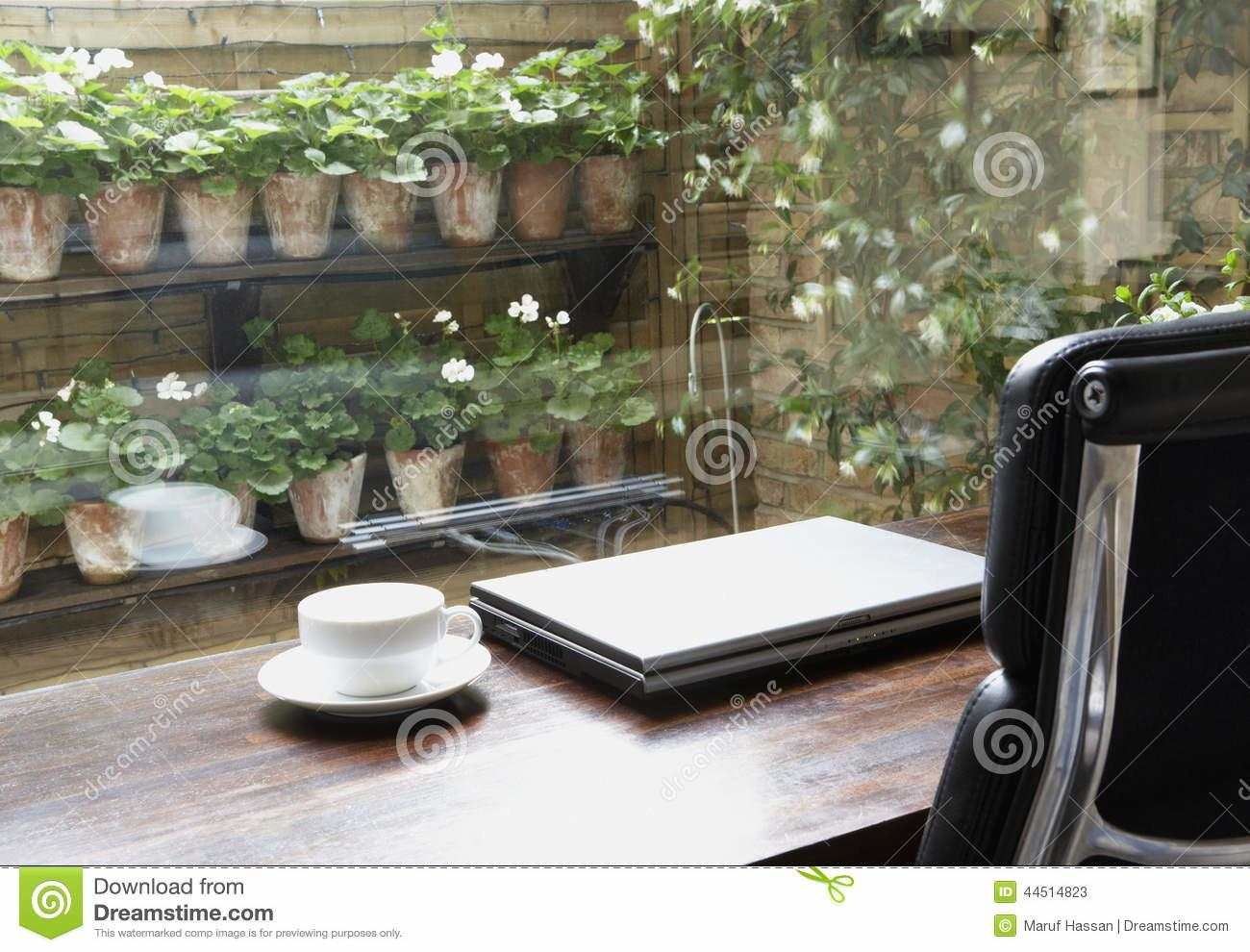 Reading Table Laptop Empty Coffee Cup Stock