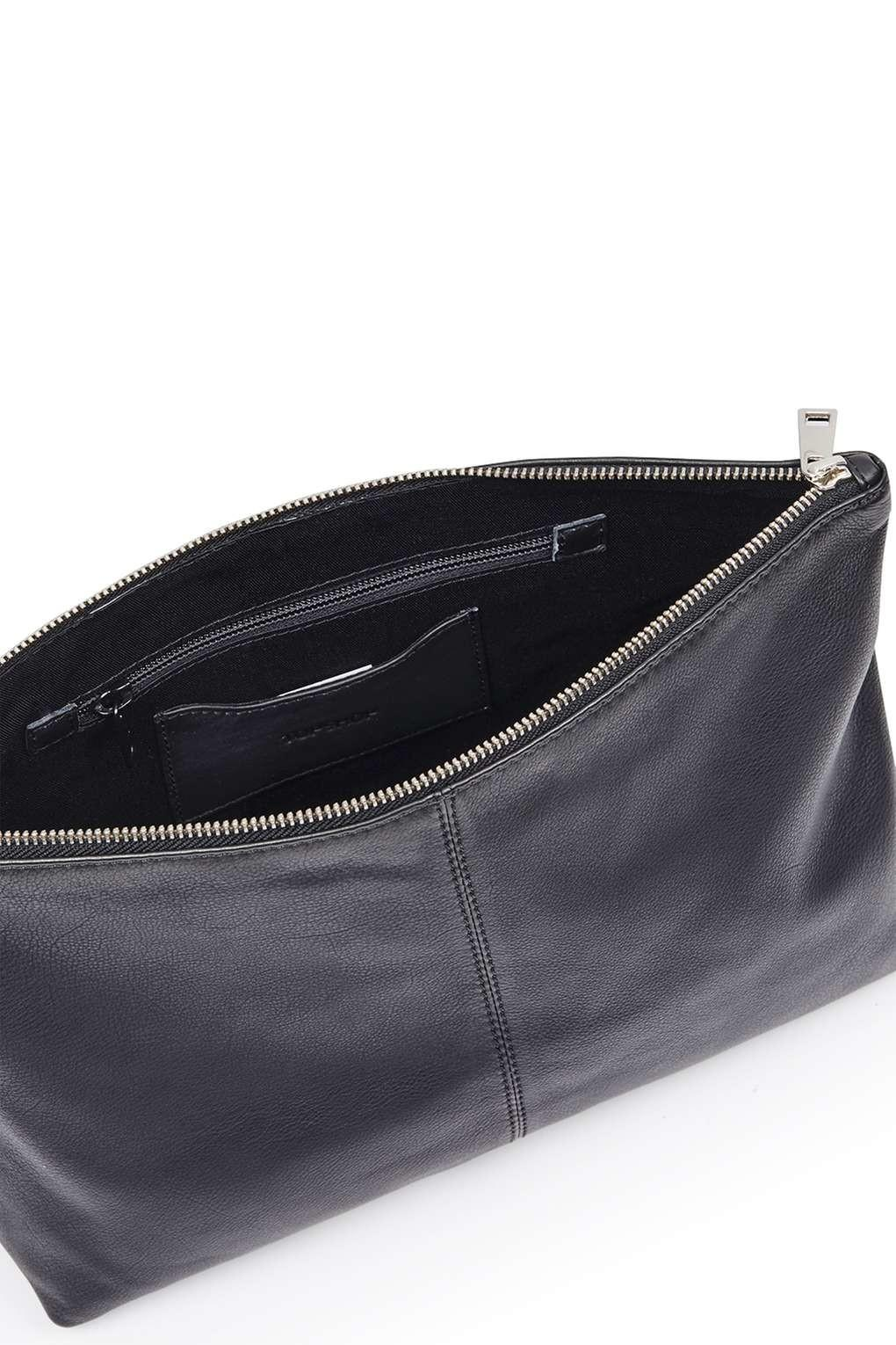 Real Leather Flap Over Clutch Topshop