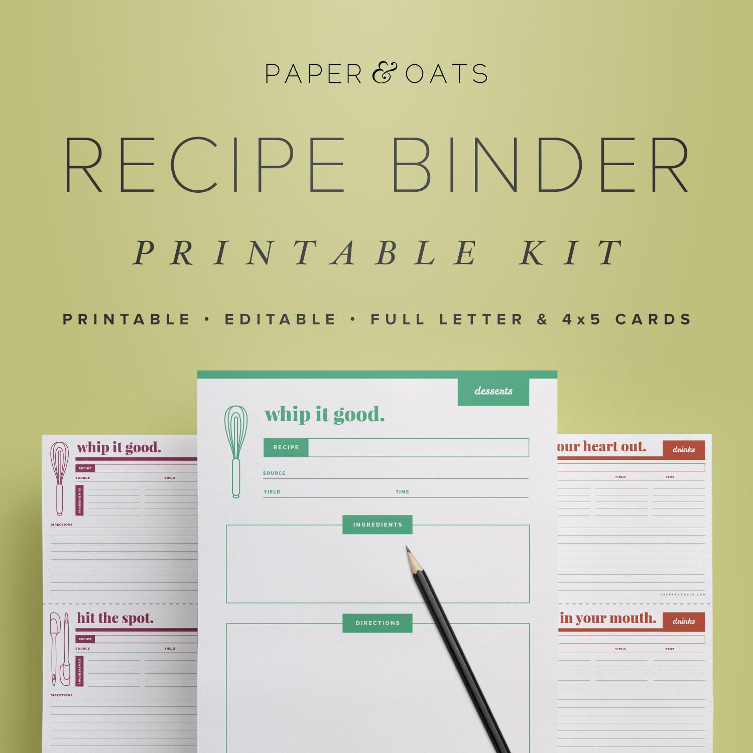 Recipe Binder Kit Printable Box Cards
