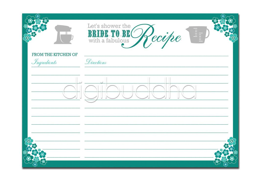 Recipe Card Bridal Shower Teal Aqua Floral Diy
