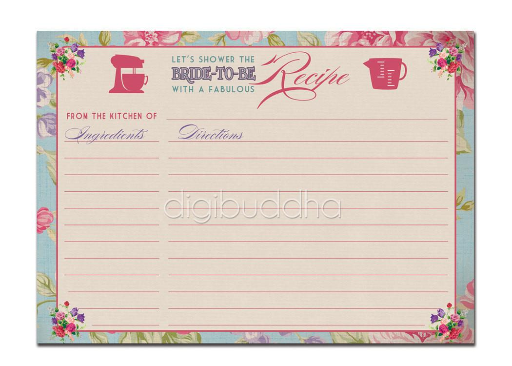 Recipe Card Instant Bridal Shower Vintage Rose