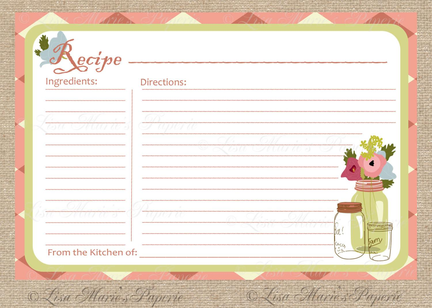 Recipe Card Printable Diy Instant