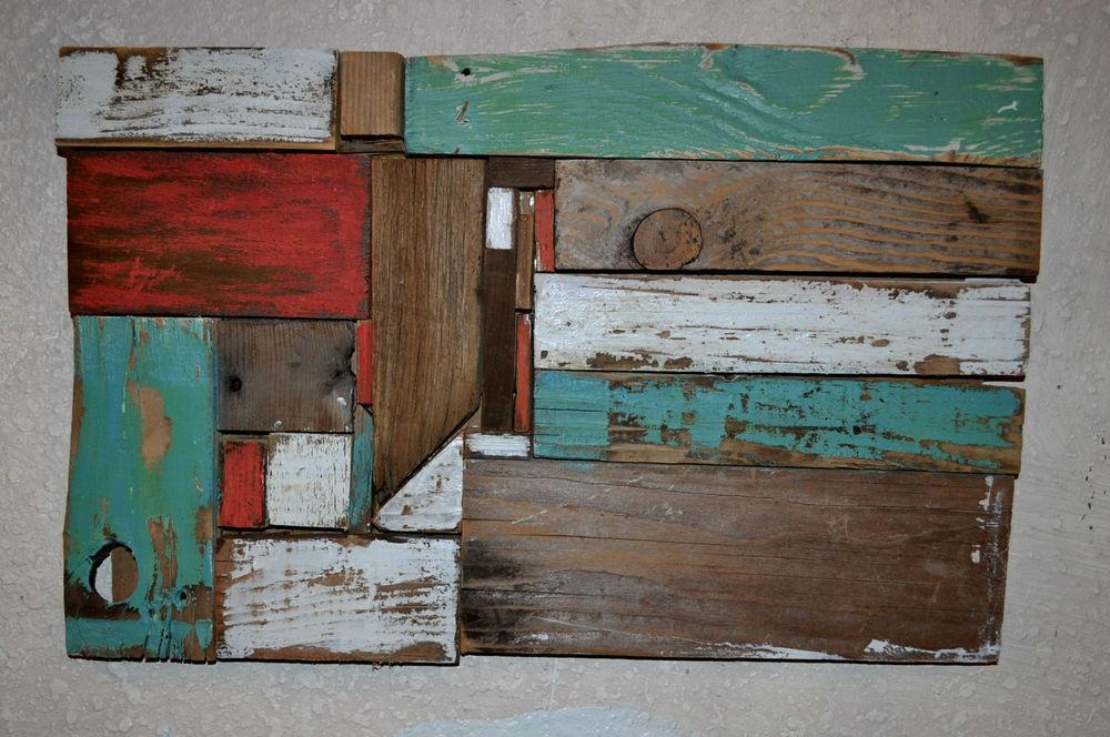 Reclaimed Barn Wood Abstract Wall Art Sculpture Eco