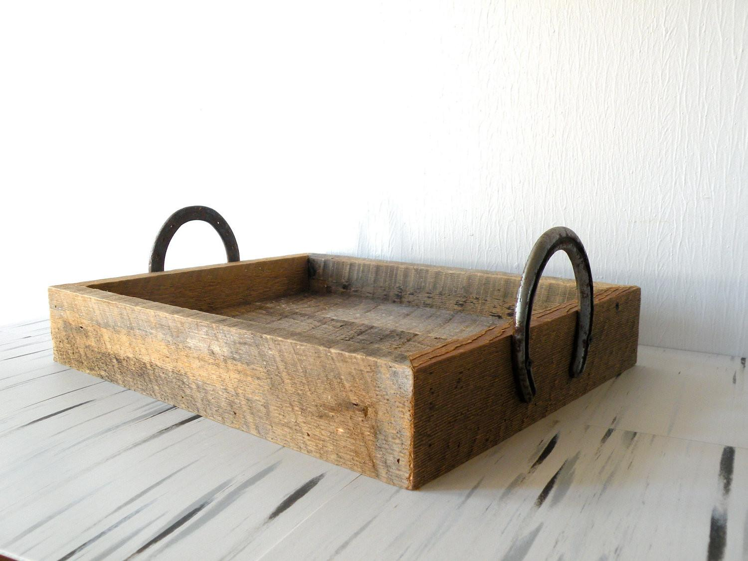 Reclaimed Barn Wood Serving Tray Horse Shoe