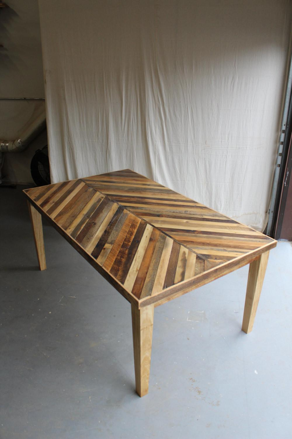 Reclaimed Pallet Barn Wood Dining Table Tapered