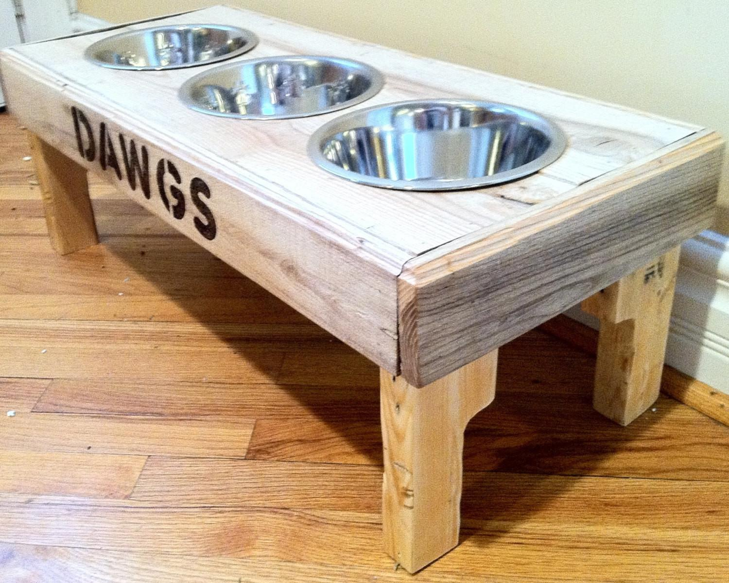 Reclaimed Rustic Pallet Furniture Dog Bowl Stand Pet Feeding