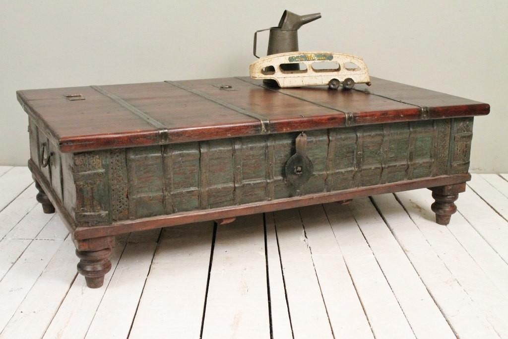 Reclaimed Trunk Coffee Table Antique Indian Olive Green Wood