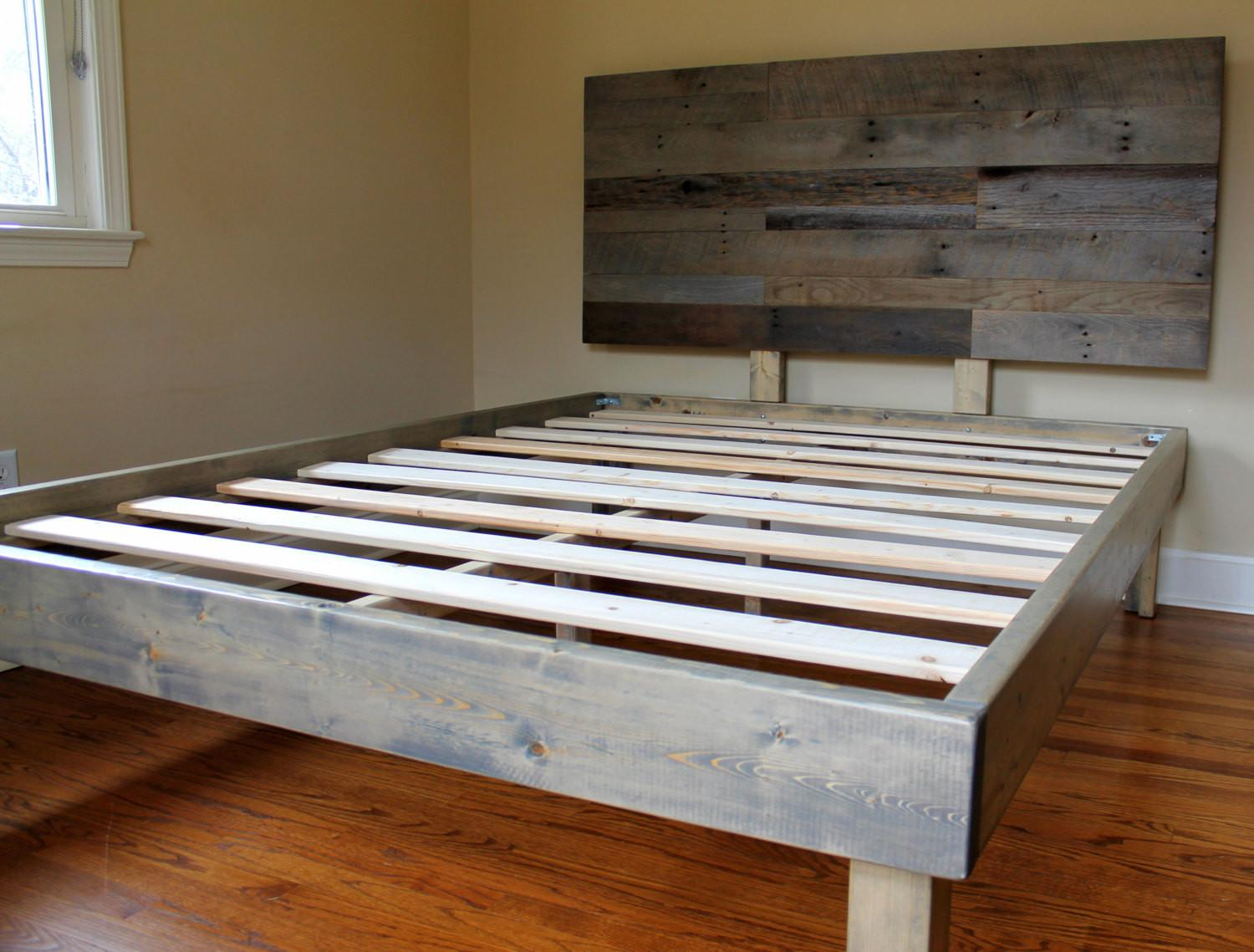 Reclaimed Wood Bed Weathered Grey Minimalist Frame