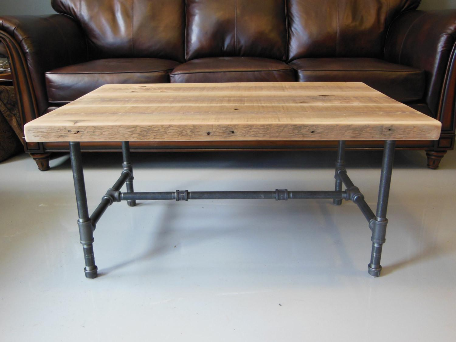 Reclaimed Wood Coffee Table Industrial Pipe Legs