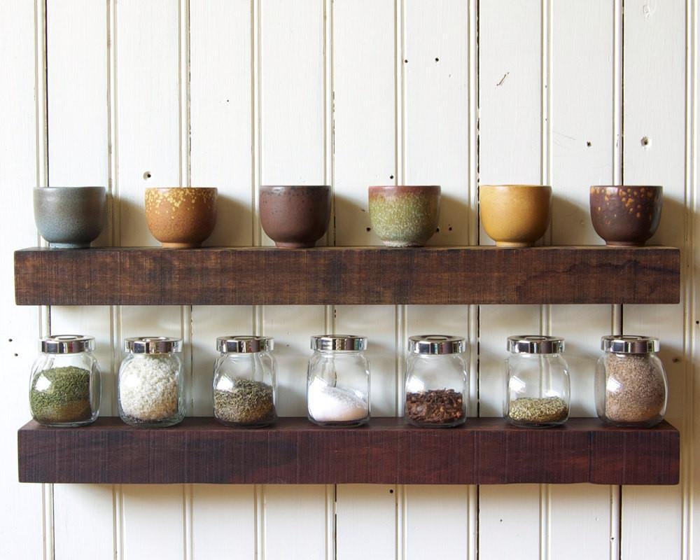 Reclaimed Wood Floating Shelves Set Rustic