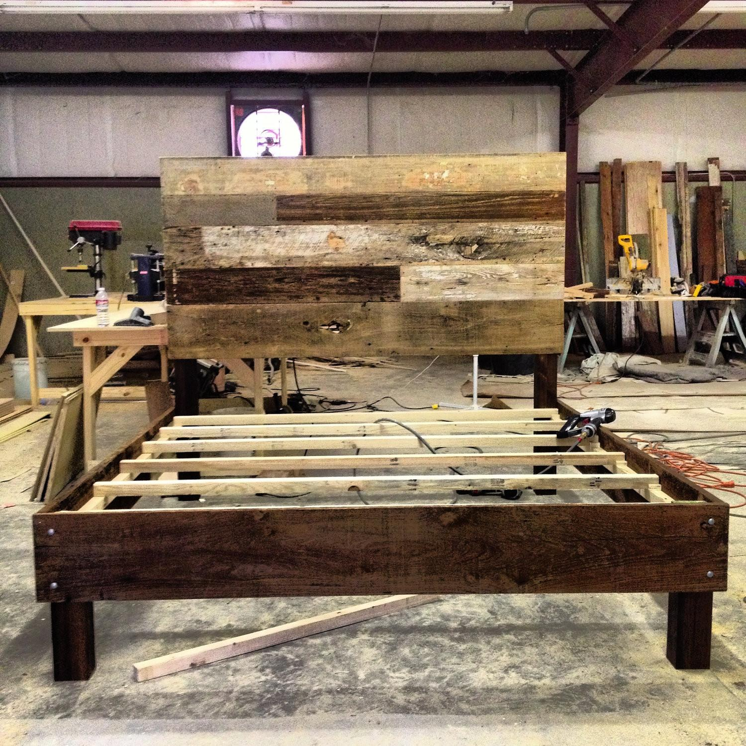 Reclaimed Wood Platform Bed Bedroom Contemporary Beam