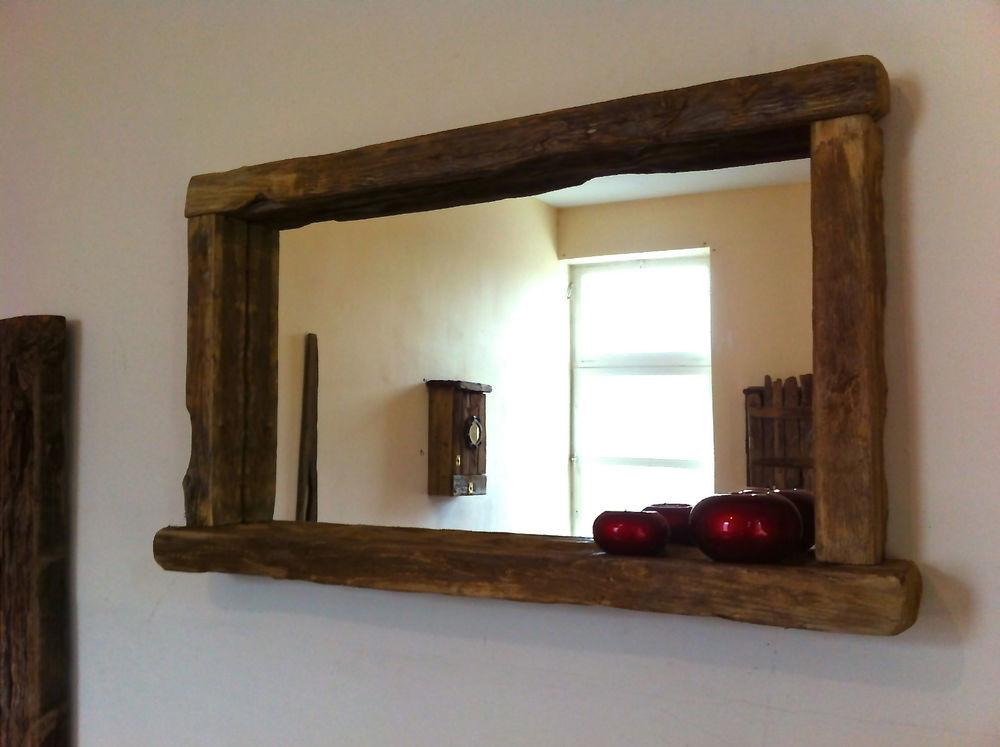 Reclaimed Wood Rustic Farmhouse Mirror Candle Shelf