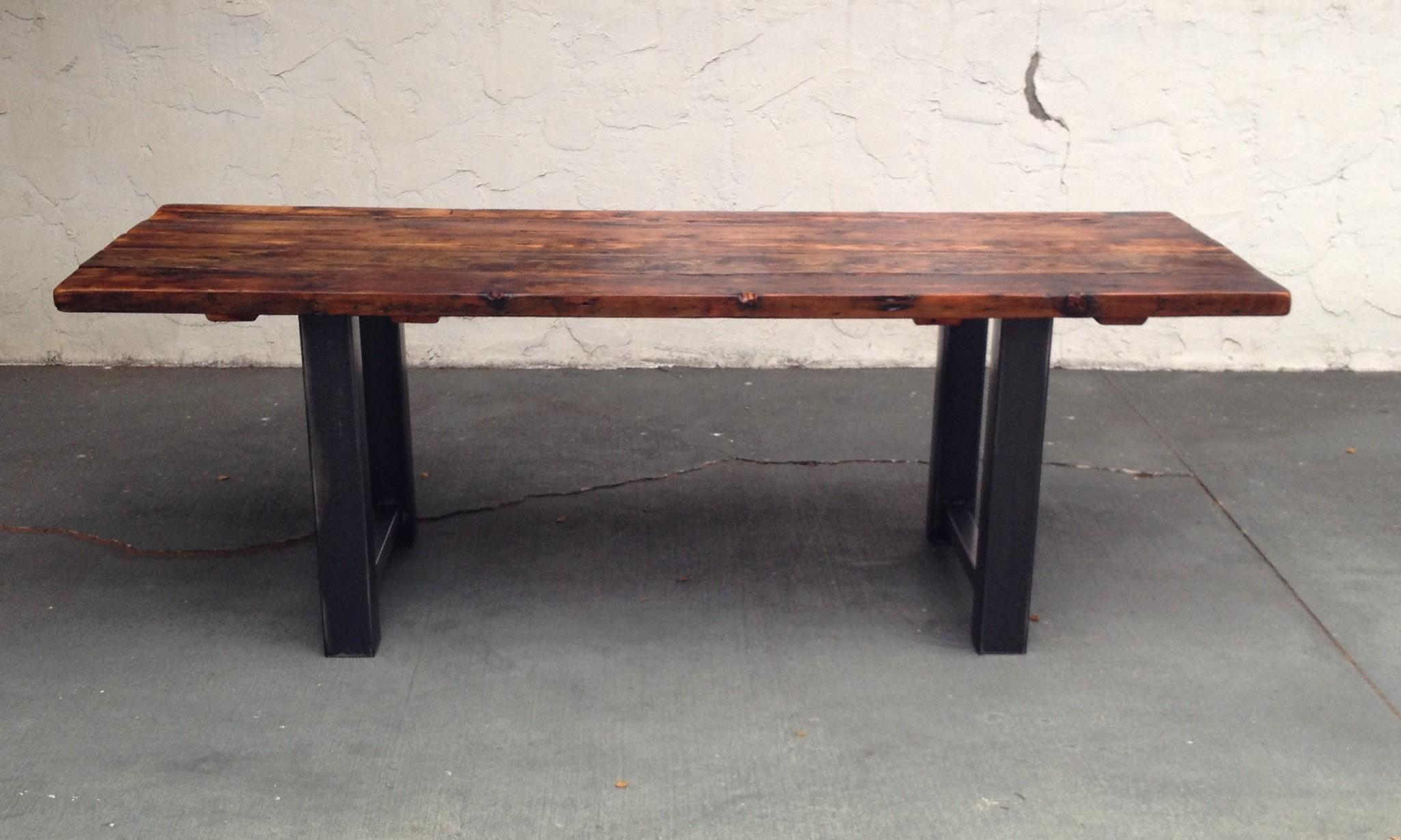 Reclaimed Wood Steel Dining Table Coastal Craftsman