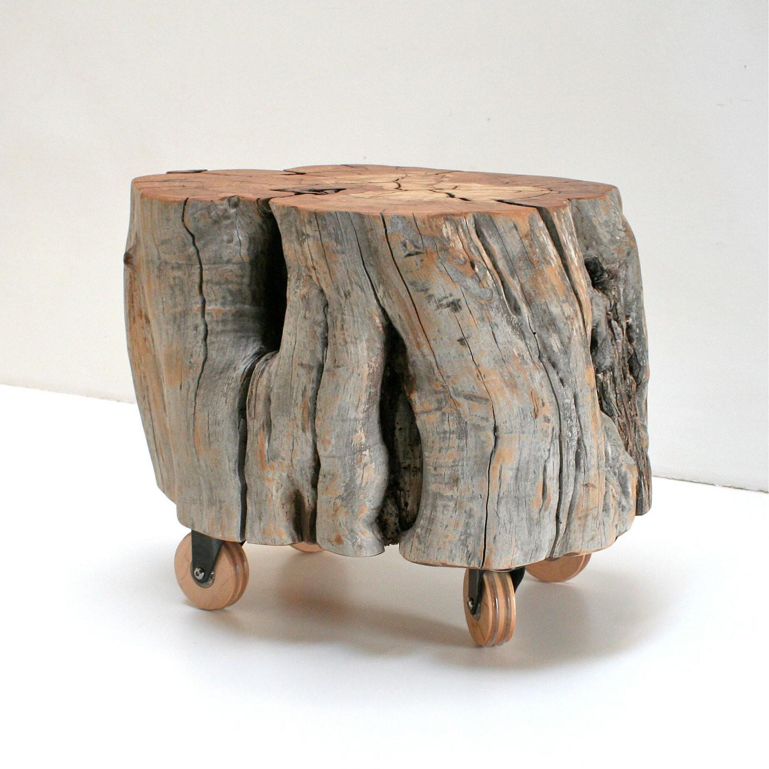 Reclaimed Wood Stump Footstool Casters