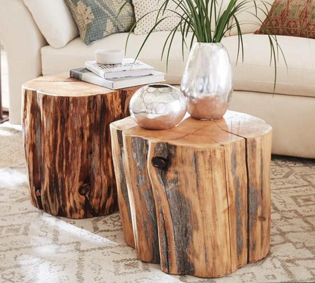 Reclaimed Wood Stump Table Pottery Barn Tree End