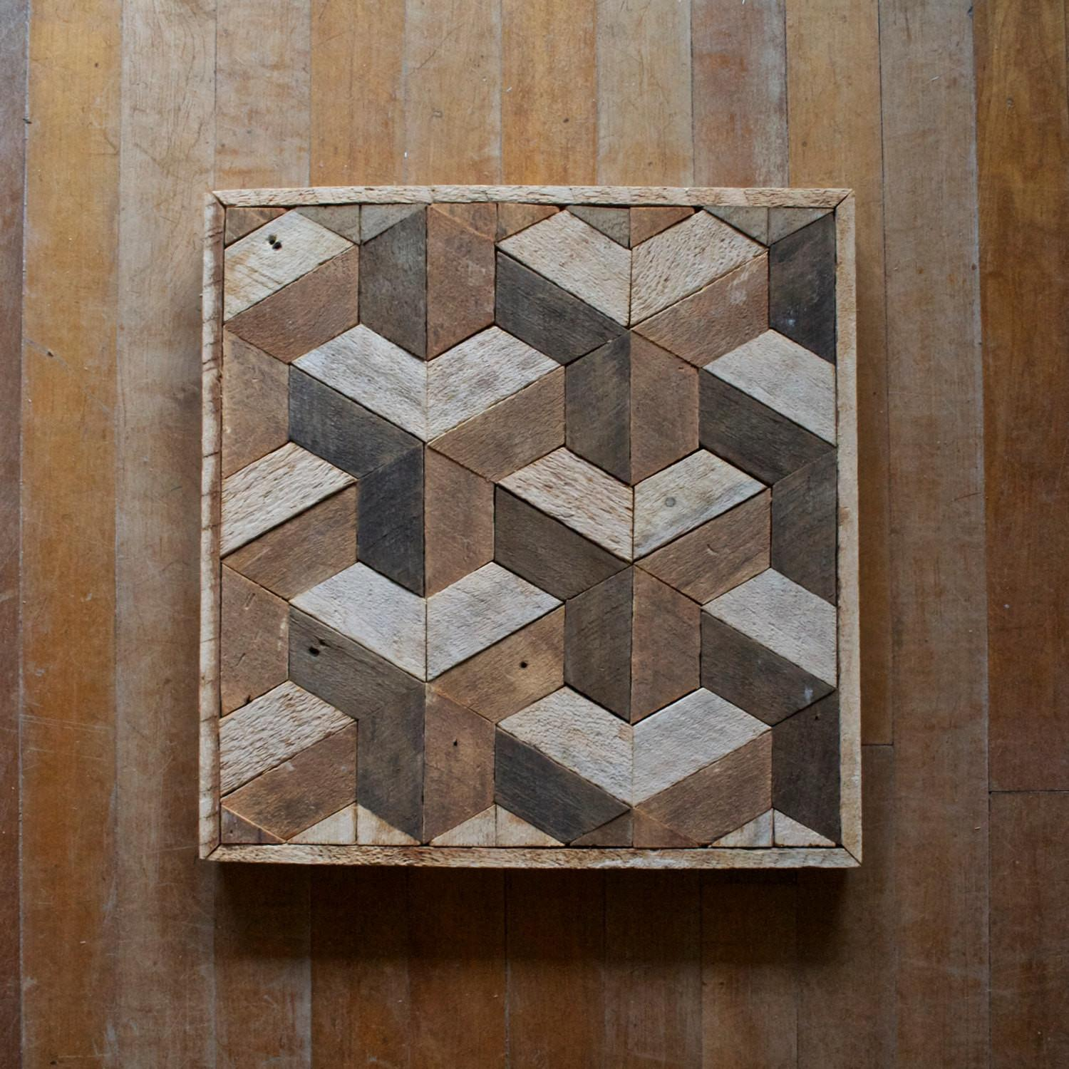 Reclaimed Wood Wall Art Decor Lath Geometric Pattern