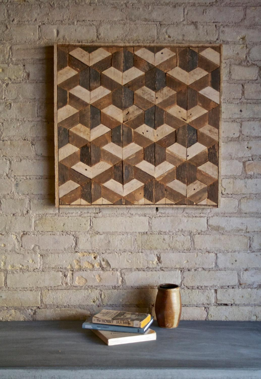 Reclaimed Wood Wall Art Decor Lath Pattern Geometric