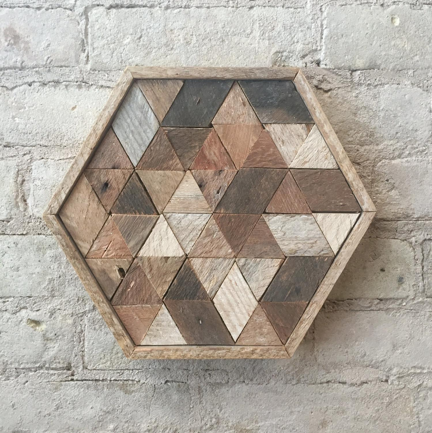 Reclaimed Wood Wall Art Decor Table Tray Hexagon