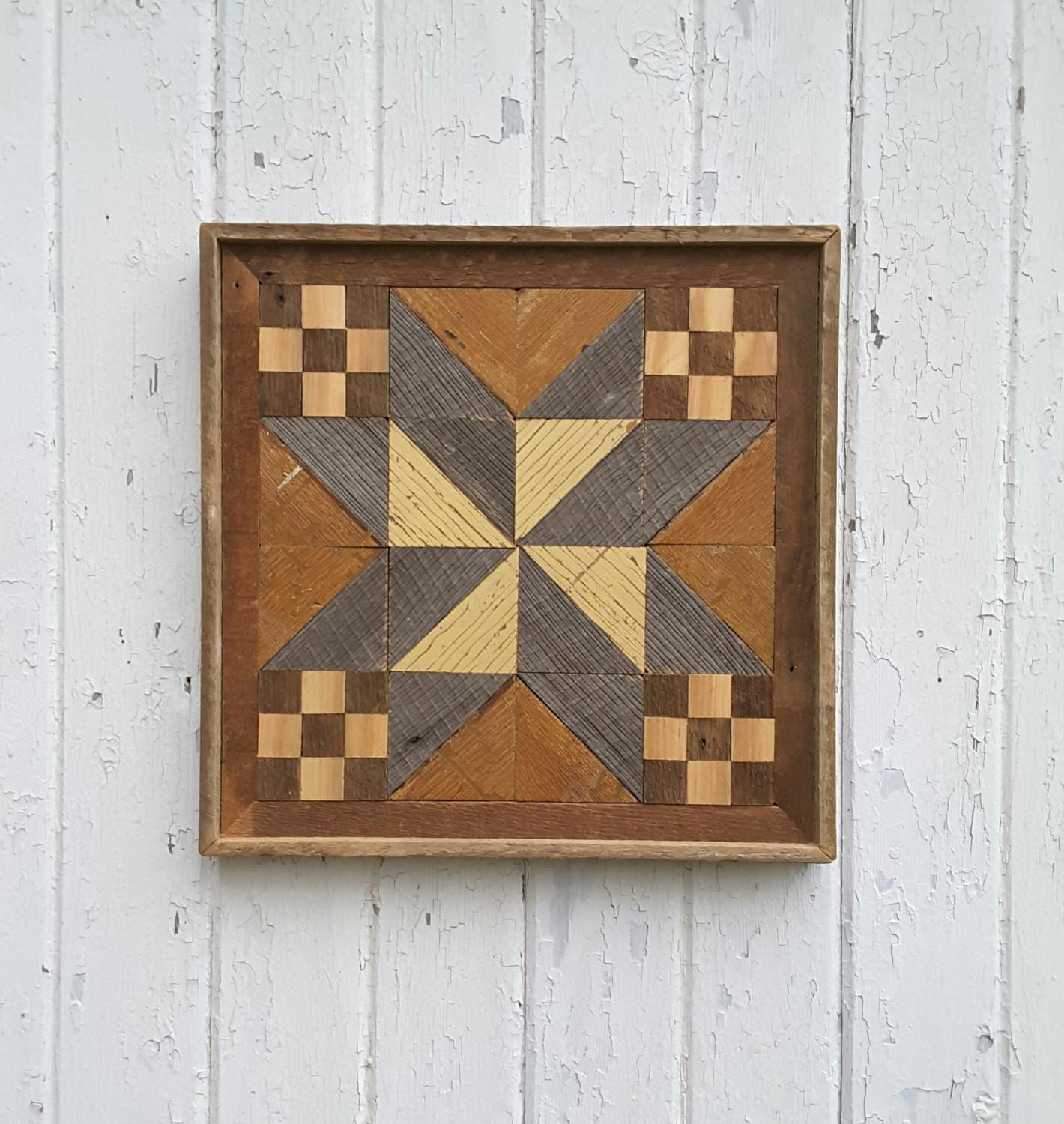 Reclaimed Wood Wall Art Geometric Quilt Block