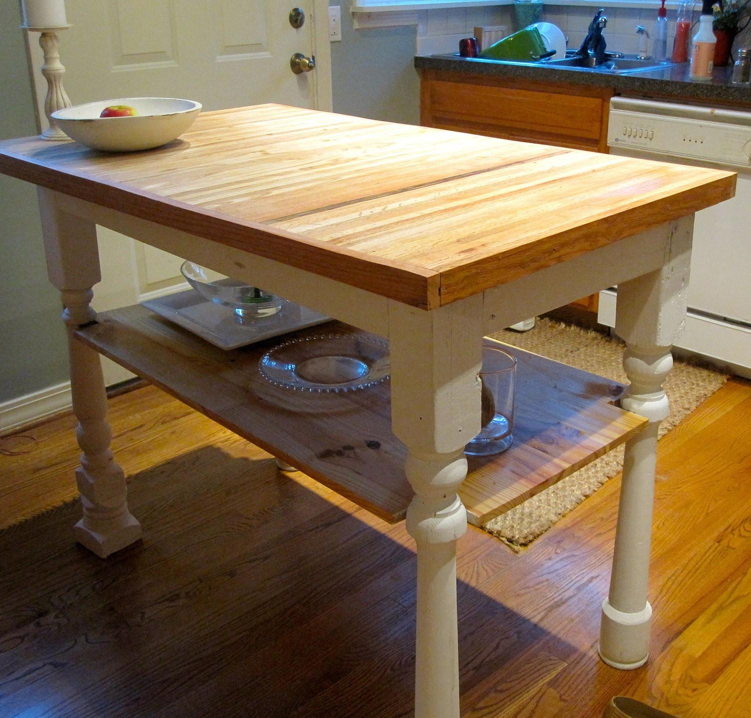 Rectangle Butcher Block Kitchen Island Open Shelves