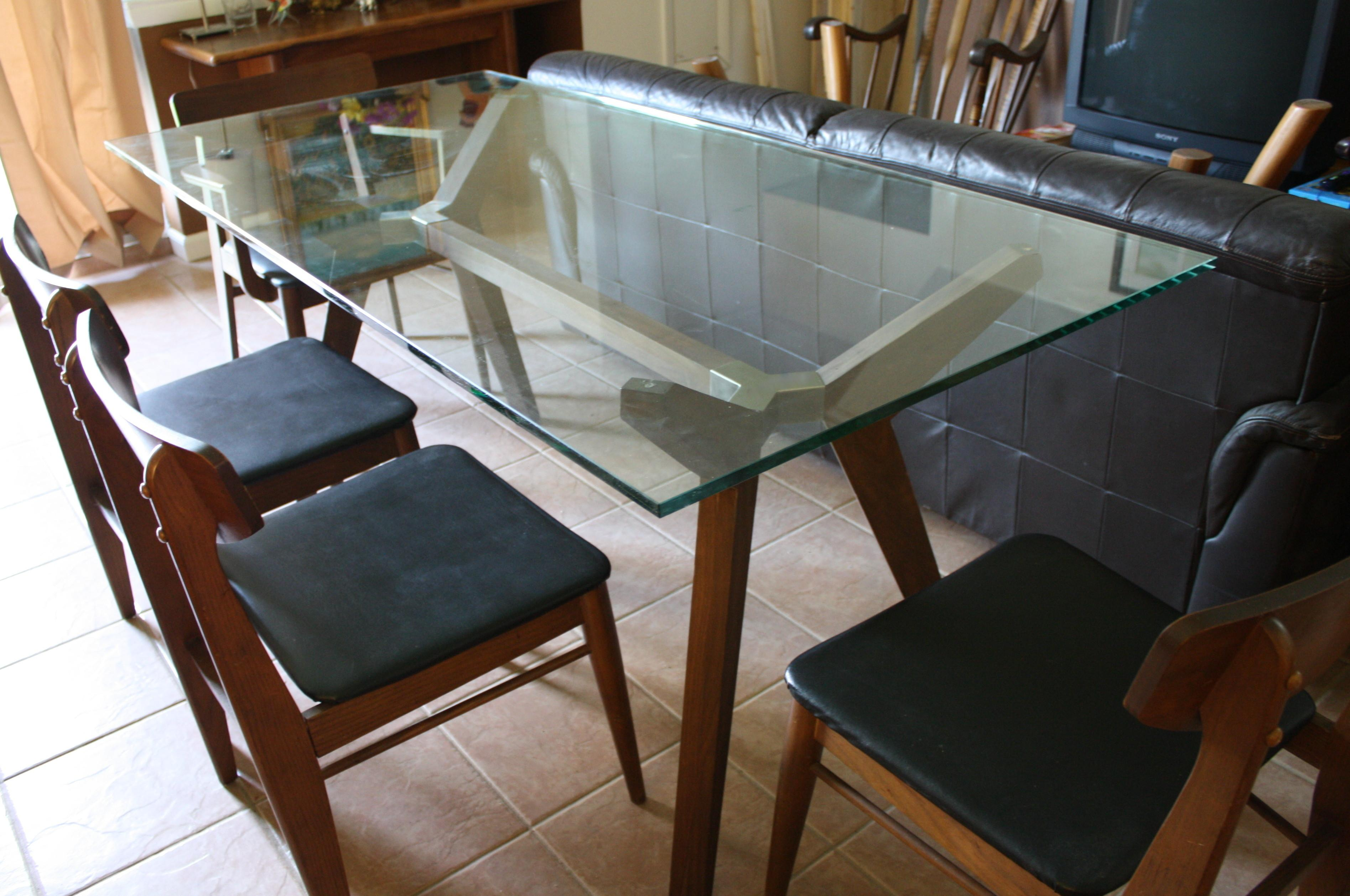 Rectangle Glass Dining Table Brown Wooden Legs