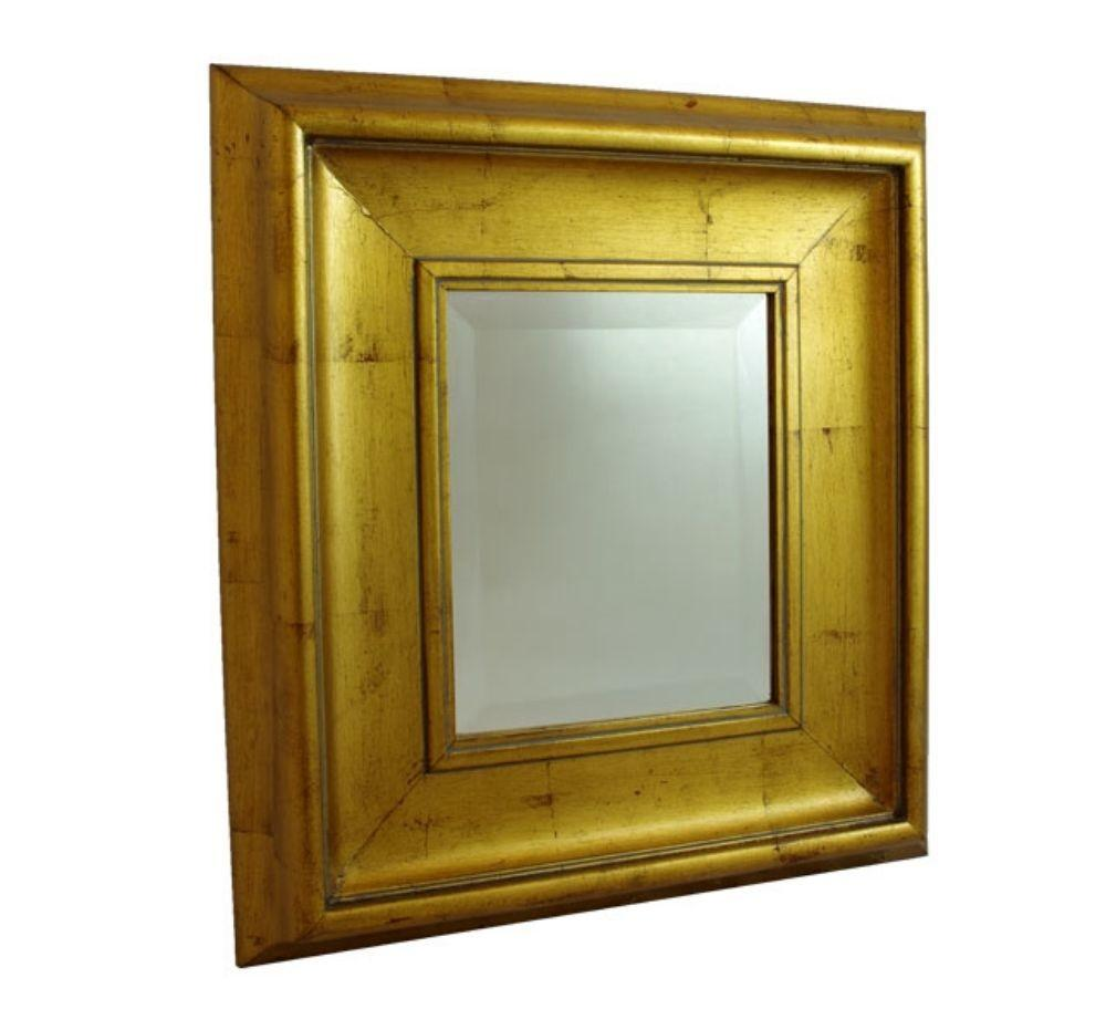 Rectangular Gold Leaf Frame Beveled Accent Mirror Wall