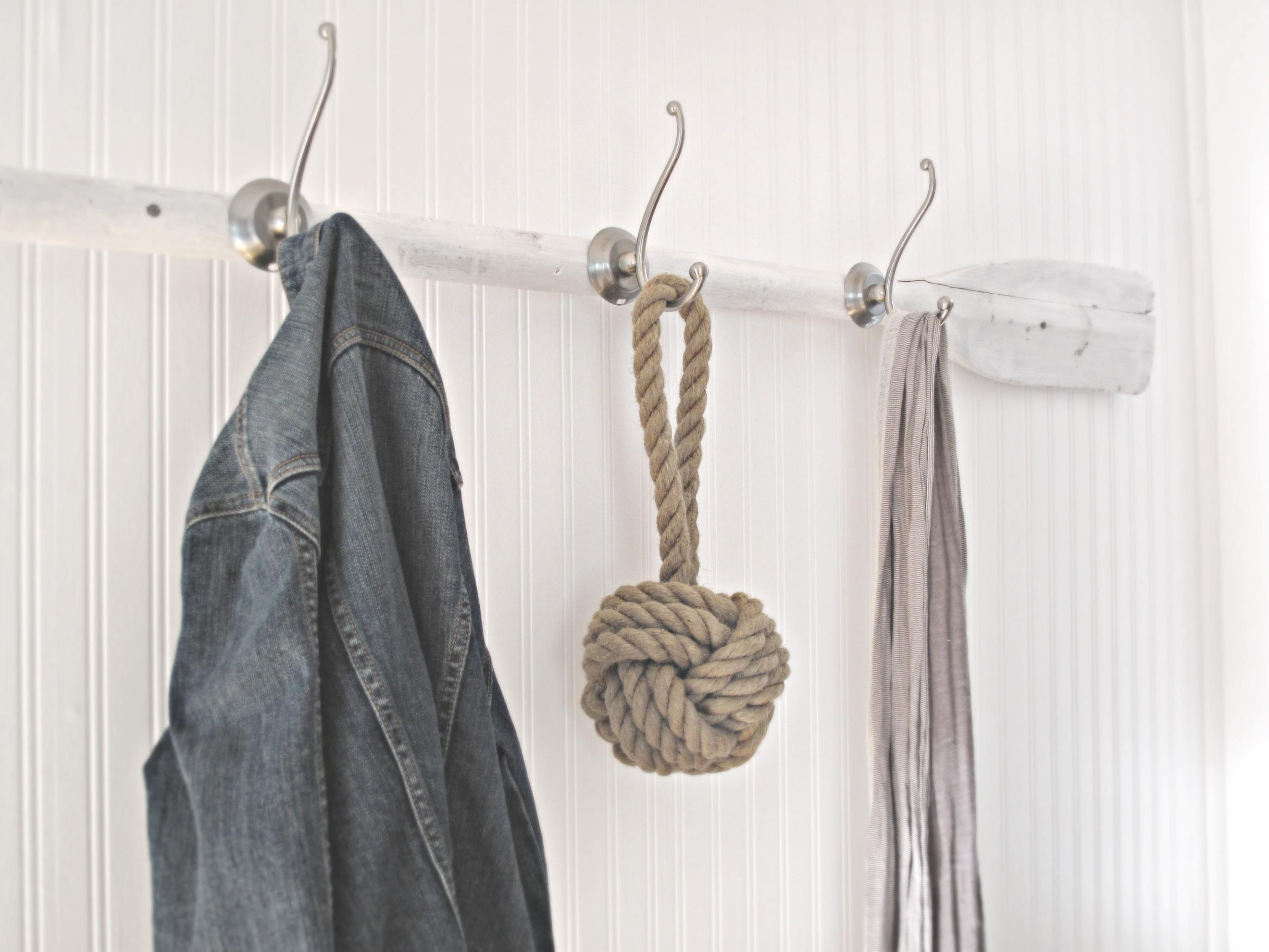 Recycle Yarn Diy Coat Hanger Rack Black Bronze Hooks