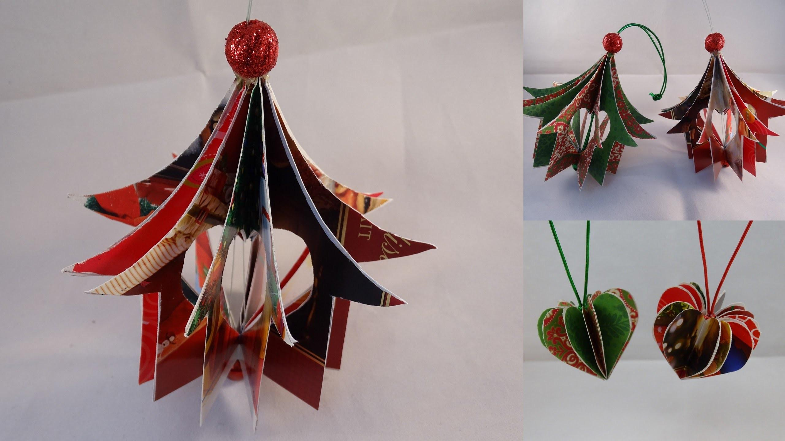 Recycled Christmas Card Heart House Ornament