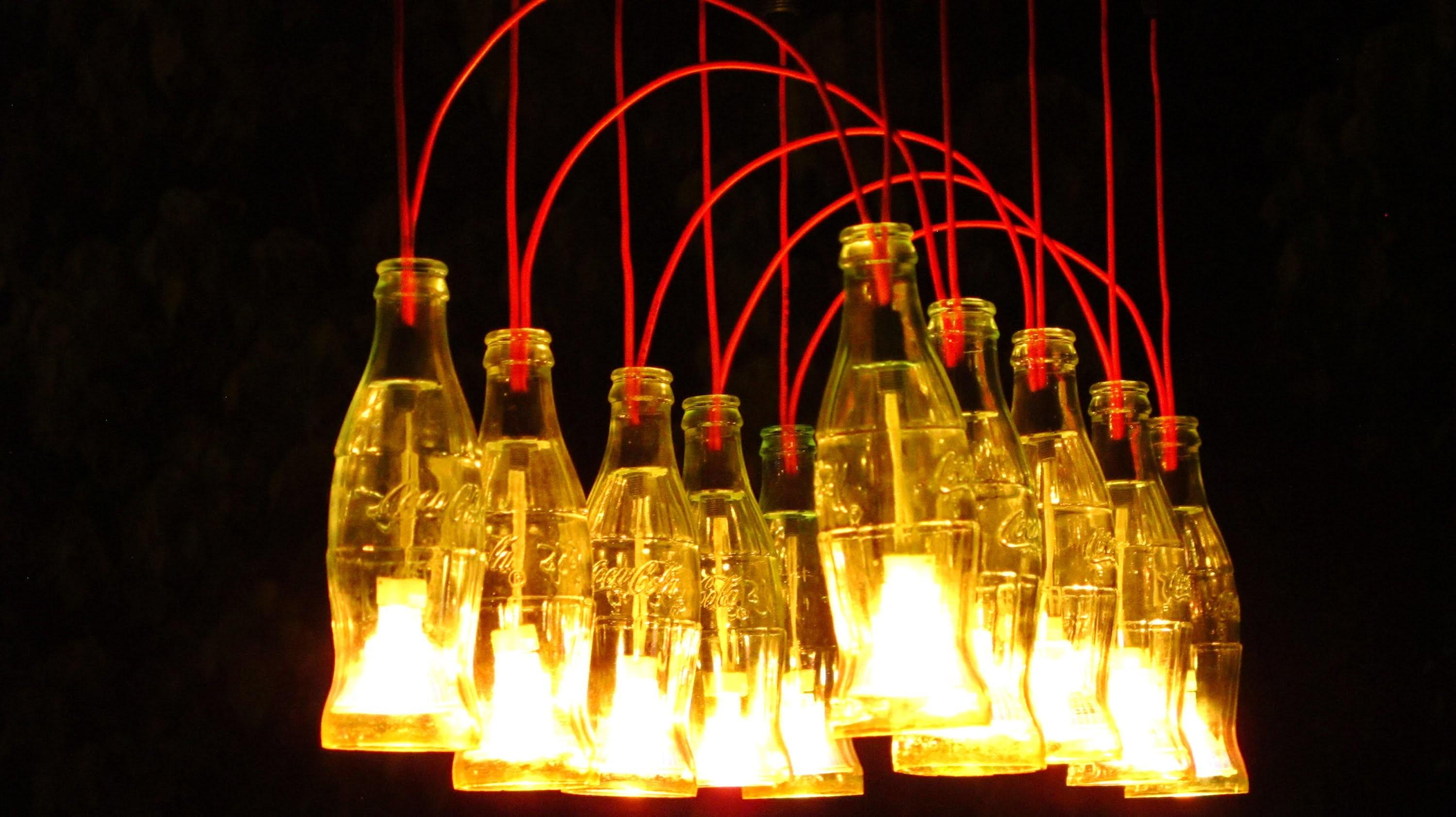 Recycled Coca Cola Bottles Made Into Chandelier