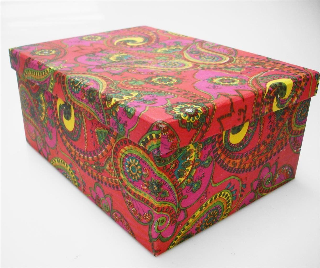 Recycled Colourful Flower Cardboard Crafts Storage Box