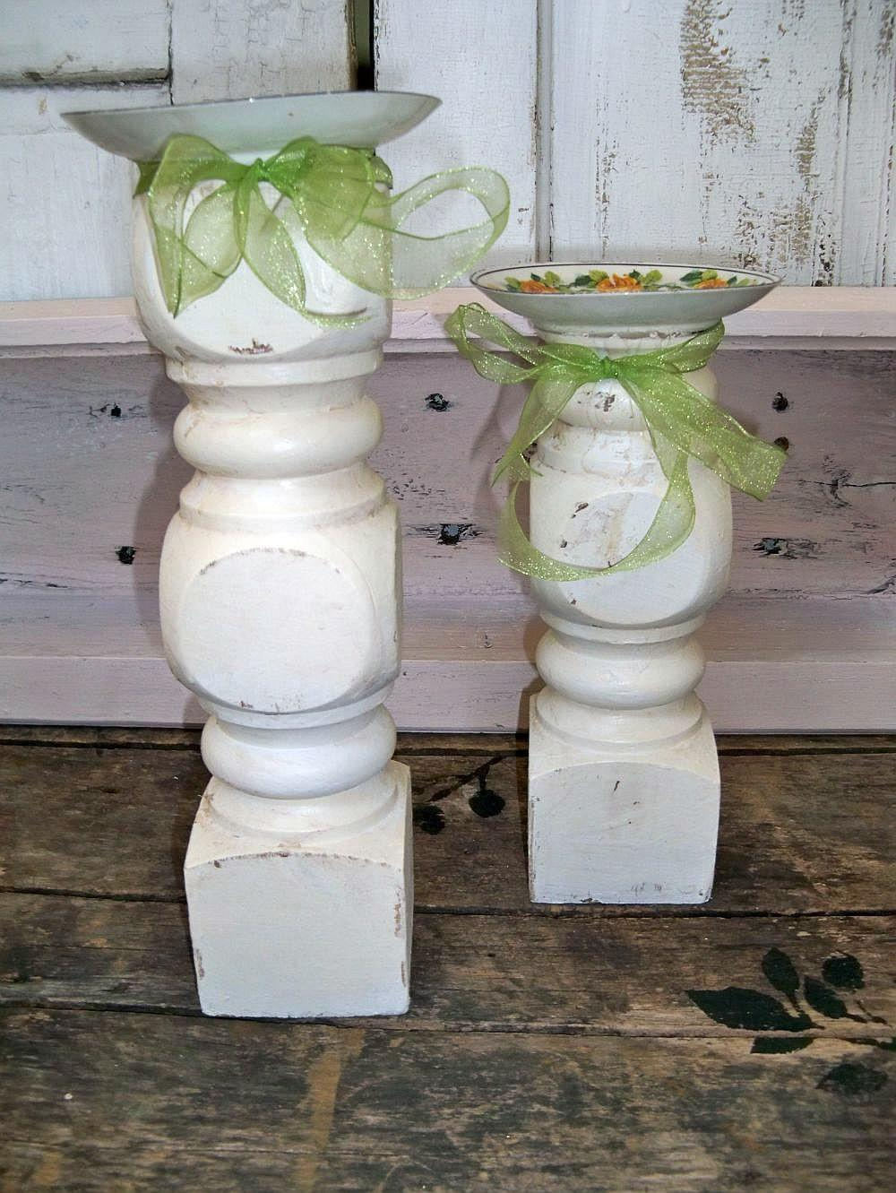 Recycled Farmhouse Wooden Candle Holders Repurposed Wood Table