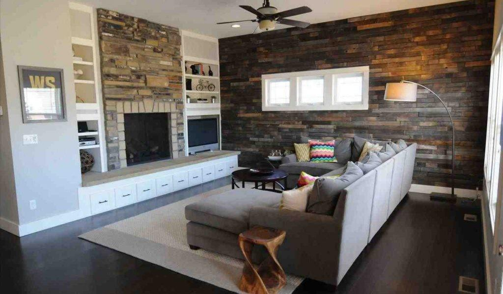 Recycled Reclaimed Wood Accent Wall Living Room Pallet