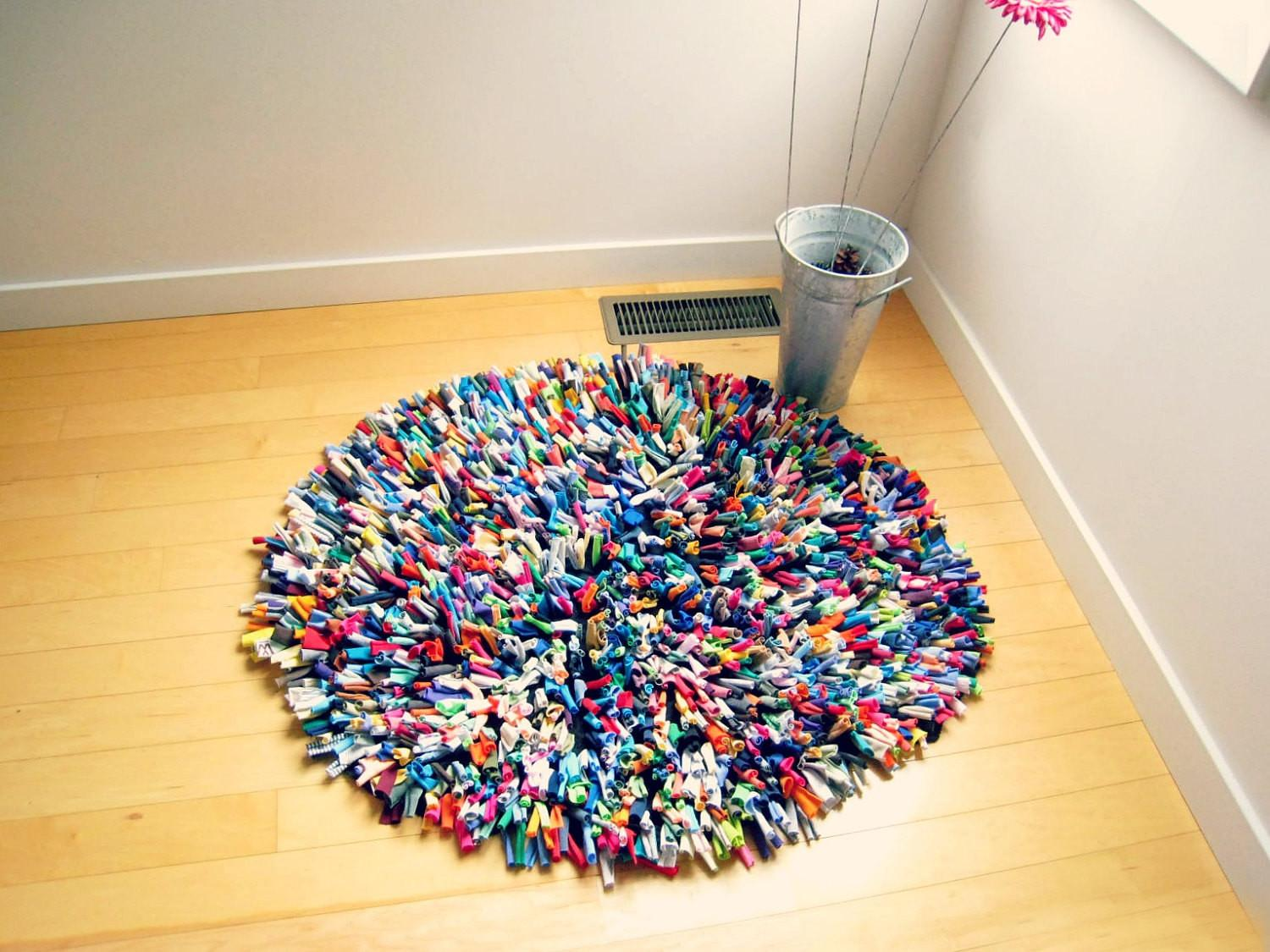 Recycled Tshirt Rug Cotton Multicolor Round