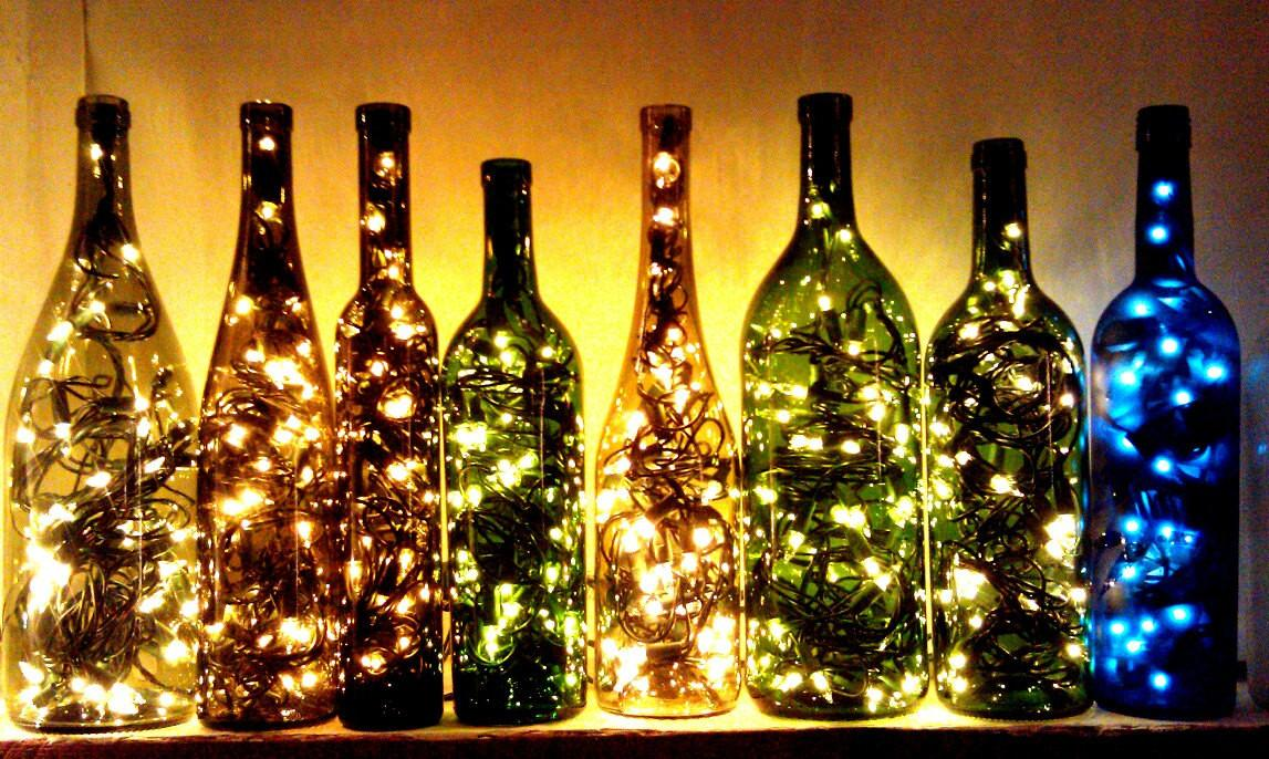 Recycled Wine Bottle Light Classygarbage Etsy