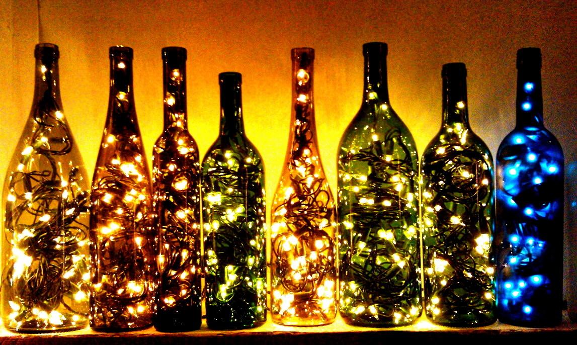 Recycled Wine Bottle Lights Make Great Christmas
